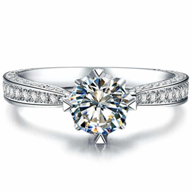 Atacado jóias 925 prata esterlina anel branco banhado a ouro semi montar 1ct sintético diamante jóias anel de noivado para mulher