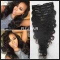 Brazilian Virgin Hair Clip in human hair extensions 7A Body Wave Virgin Clip-In Hair Extension 7pcs Natural Black Clip Ins Hair