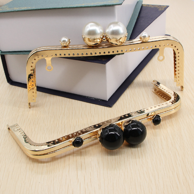 1 pcs 20 CM Marble White Black Pearl Clasp Metal Sewing Purse Frame High Quality China O ...