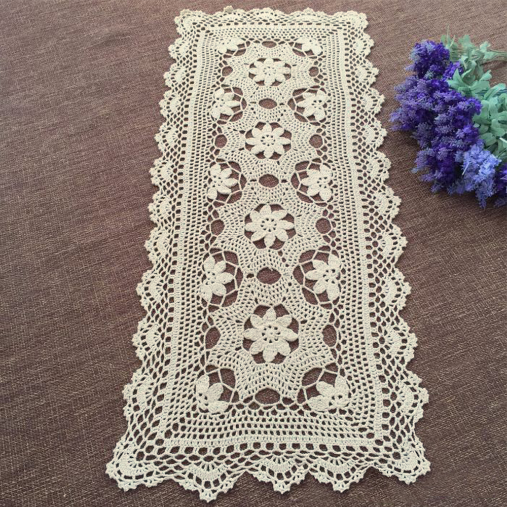 Rainqueen Handmade Crochet Lace Table Runner Flower Retro TV Cabinet Cloth Cotton Woven Placemat Wedding Dinner Decorative Beige