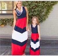 2017 Mommy And Me Family Matching Mother Daughter Dresses Clothes Striped Mom And Daughter Dress Kids