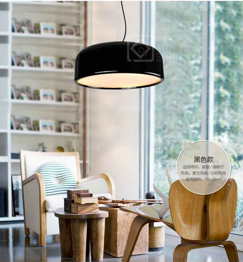 ФОТО Simple personality Phil Smith suction hanging lamp LED aluminum single head lamp room dining room lamps D 48cm