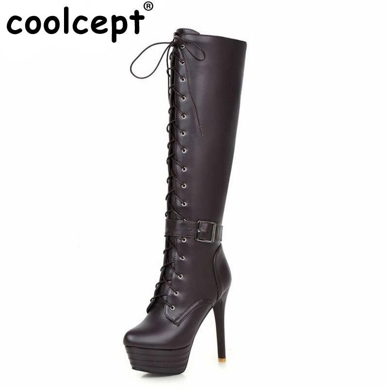 ФОТО size 31-45 women platform high heel over knee boot cross strap winter warm knight long boot fashion footwear heels shoes P21275