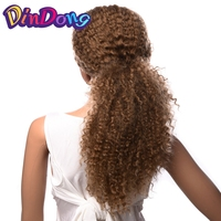 DinDong Kanekalon Long Afro Kinky Curly Wig Hair Product Kinky Curly Hairstyle Long Brown Synthetic Wigs