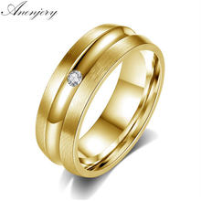 Anenjery Newest Fashion Titanium Steel Gold Color Round Small Zircon Ring For Women and Men Wedding Rings anel(China)