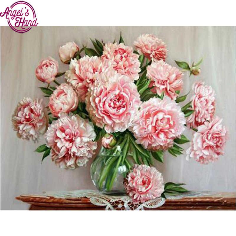 Peônia rosa em vaso pintura diamante ponto cruz decoração do casamento presente de férias resina cheia diamante bordado flor