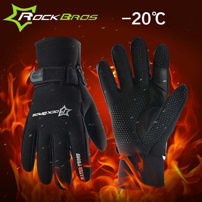 ROCKBROS Super Warm Winter Cycling Gloves Men's Full Finger Thermal Fleece Cotton Bike Bicycle Sports Gloves Bicycle Accessories