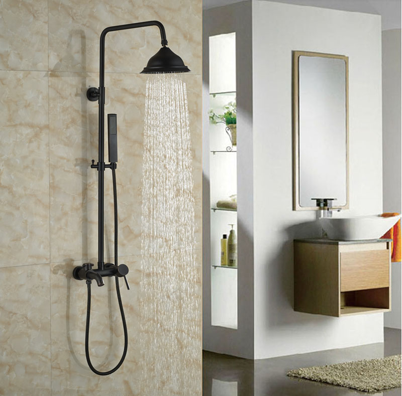 Luxury Bathroom Oil Rubbed Bronze Shower Faucet Wall Mounted Single Lever W/Handheld Bath Tub Faucet
