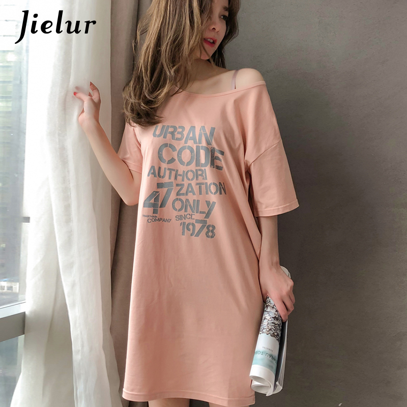 Jielur Summer Short Sleeve Letter Printed Women   Nightgowns   Loose Casual Cotton   Sleepshirts   Sweet Breathable Dress M-XXL Dropship