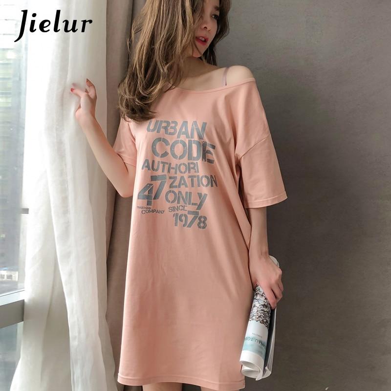 Jielur Summer Short Sleeve Letter Printed Women   Nightgowns   Loose Casual Cotton   Sleepshirts   Sweet Breathable Dress M-XXL Dropship