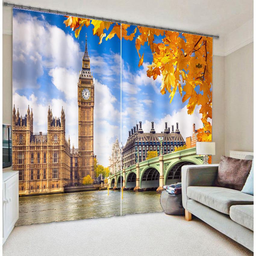 Paris Eiffelturm London Bridge Taj Mahal Zimmer Verdunkelung Vorhnge 3D Landschaft Moderne Fenster Decor Designs
