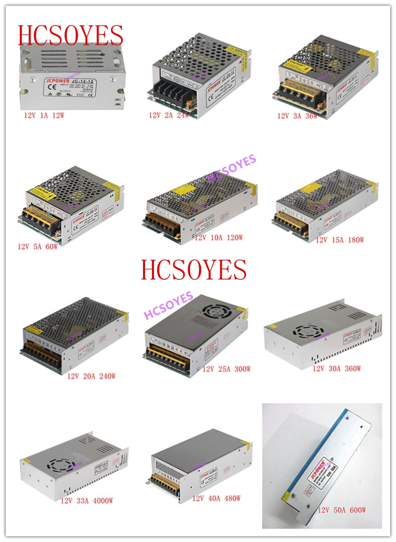 Led Lighting Dc 12v 1a/2a/3a/5a/6a/8a/10a/12a/15a/20a/25a/30a/40a/50a/60a Led Power Supply Transformers For Ws2812b Ws2801 Led Strip Module