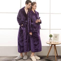 Зимние толстые теплые Любители кимоно для ванной Халат платье пары мягкие фланелевые пижамы большой длинная ночная рубашка Горячая коралл