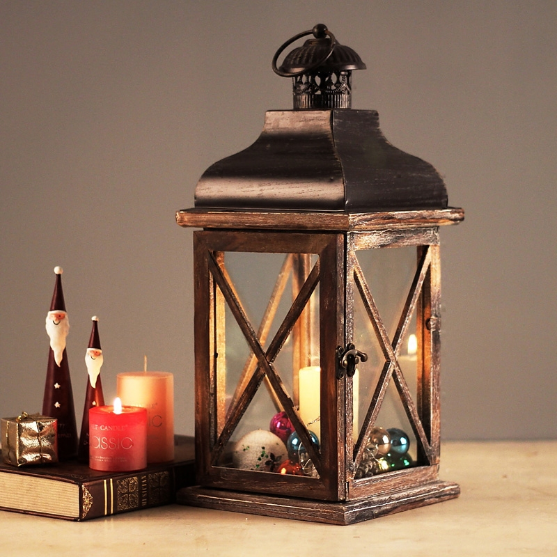 Classic Glass Wooden Retro Lantern Windproof Table Candle