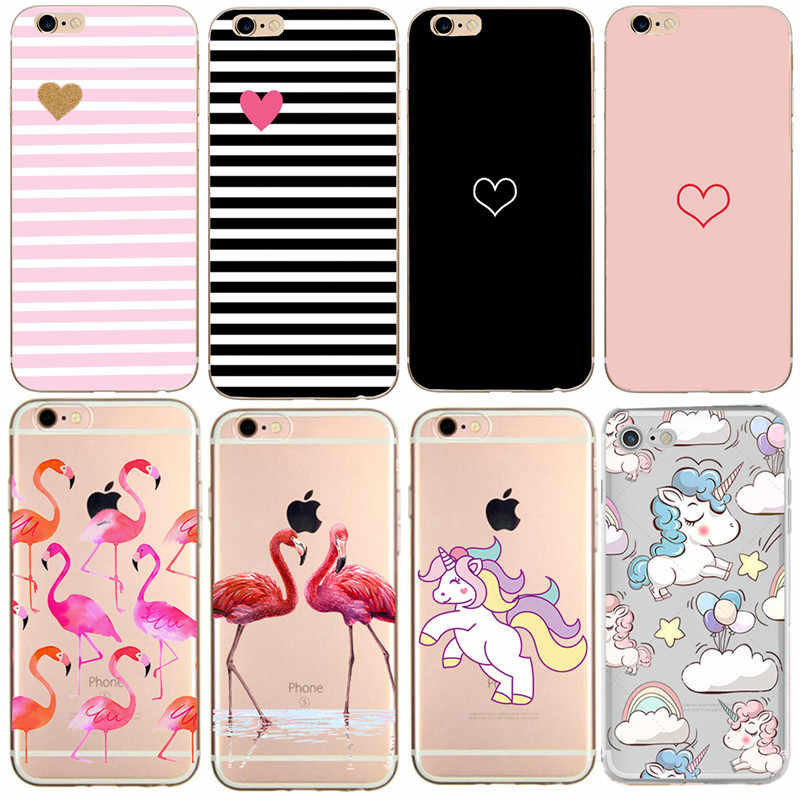 Para A Apple iPhone 7 8 X XS 6 6 S S Caso Flamingo Do Amor Do Coração de Silicone Suave Tampa Traseira Para caso iPhone 5 8 7 Plus 5S SE Telefone
