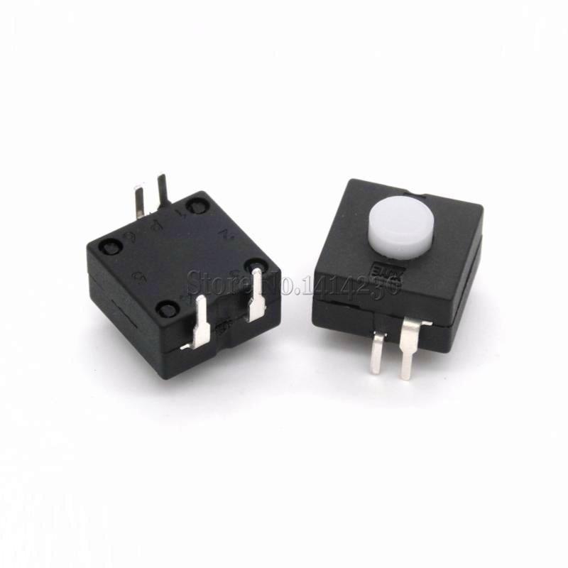 10Pcs Push Button 4Pins Bent Feet Flashlight Switch 1212-214A 12*12mm ON-ON-OFF