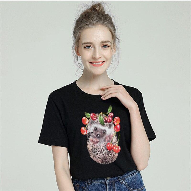 Hedgehog Funny T Shirt Women Cotton 2019 Harajuku Aesthetic Short Sleeve Plus Size Female T-shirt White Tshirt Tumblr Top & Tees Price $9.99