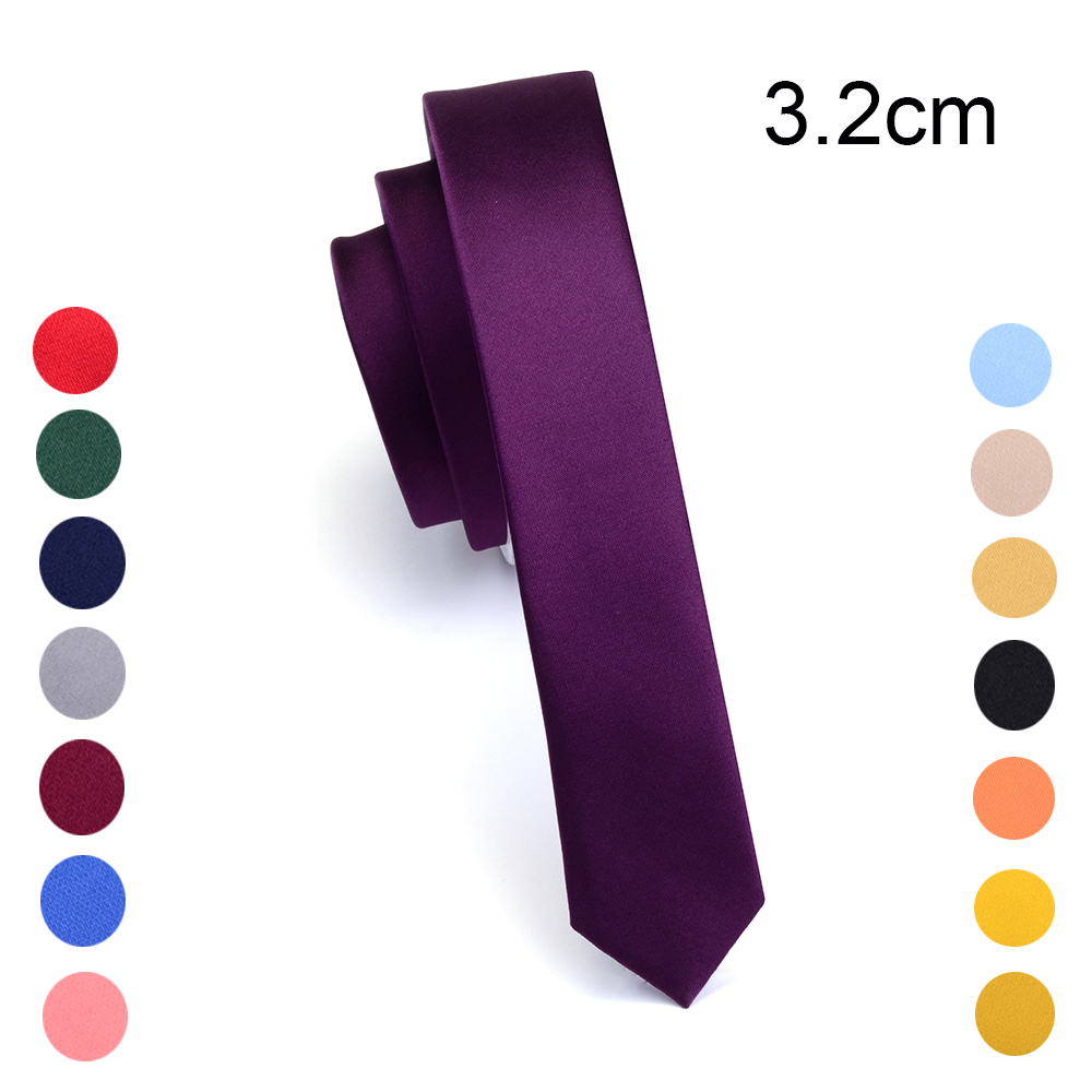 GUSLESON Super Slim Tie 3cm Satin Red Yellow Black Solid Ties Handmade Fashion Men Skinny Narrow Necktie For Wedding Party