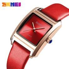 Skmei женские часы из натуральной кожи люксовый бренд кварцевые