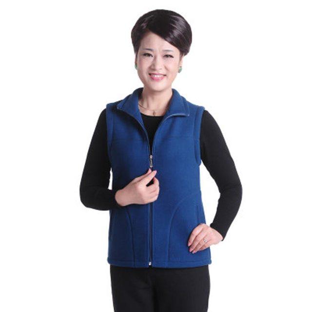New Fashion 2016 Autumn Winter Women Vest Middle Age Slim Warm Polar Fleece Vests Plus Size L-5XL Mother Clothing PW0103
