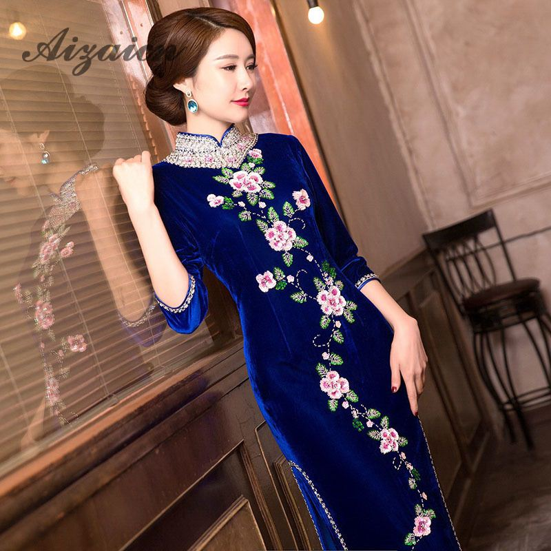 Long Green Pleuche Traditional Qipao Women's Chinese Cheongsams Velvet Vestido Oriental Sequins Embroider Dress Qi Pao Cheongsam