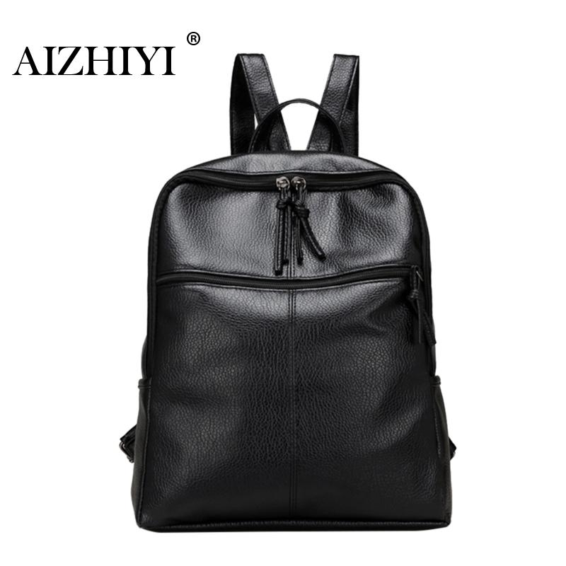 Travel Backpack Korean Women Female Rucksack Leisure Student School Bag Soft Zipper PU Leather Women Bag Preppy Style Backpack 2016 new winter fashion leisure bag lady korean pu leather rivet travel backpack zipper preppy school bag plaid pattern mini bag