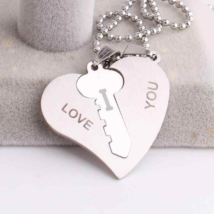 free shipping Lovers hearts and key LOVE YOU 316L Stainless Steel pendant necklaces for men women wholesale