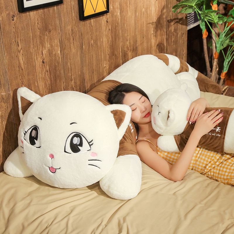 90cm New Arrival Cartoon cute stupid cat Plush toy soft animal stuffed doll pillow lying kawaii pet for Child kid Birthday gift