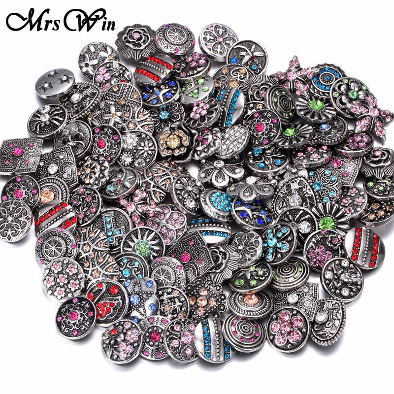 100pcs/lot Wholesale Snap Buttons Jewelry Mixed Metal Glass Rhinestone Flower 18mm Snap Buttons Fit Snap Bracelet Necklace