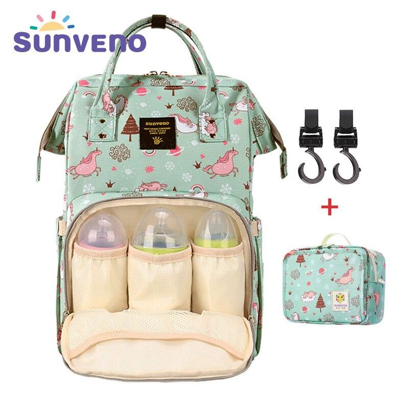 SUNVENO Mommy сумка для подгузников большой емкости Детская сумка для подгузников дизайнерская сумка для кормления модный рюкзак для путешестви...