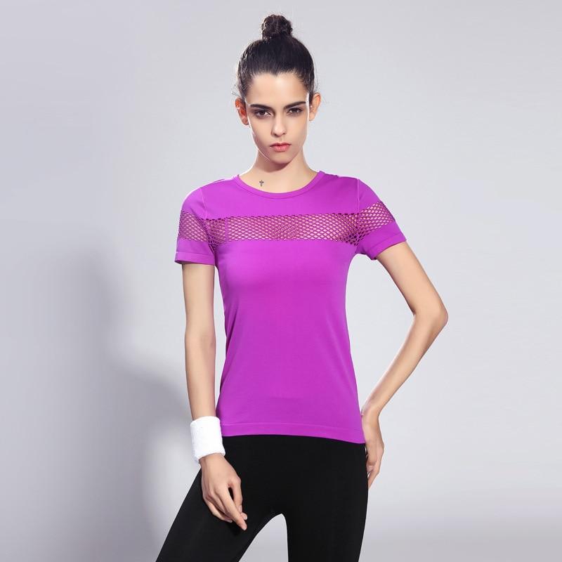 429a8288 Sportbekleidung frauen Mesh top Sport fitness Gym athletics Short Sleeve T- shirts Brief chalecos mujer