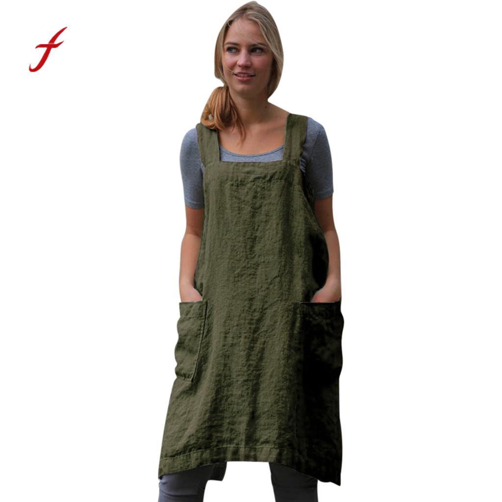 feitong Women Cotton Linen Pinafore Square Cross Apron Garden Work Pinafore Dress Waist A Line Chic Dress Ladies Tie Neck  #w30 girl