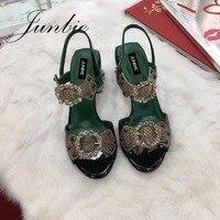 JUNBIE змеиной Jewel Кристалл Бисер Для женщин лето осень сандалии пикантные туфли с открытым носком на не сужающемся книзу массивном каблуке Дл