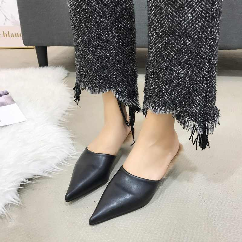 5ca802a3af1e ... 2019 New brand pointy toe leather mules slippers women winter rabbit fur  outdoor trend slides shoes ...