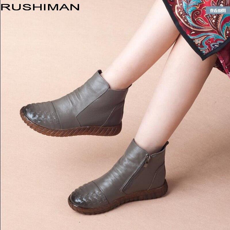 De Main Chaussures Vente Véritable Cheville Rushiman Noir Mode Conception  Chaude gris Fond La Femmes Mou ... 8bb0b256a493