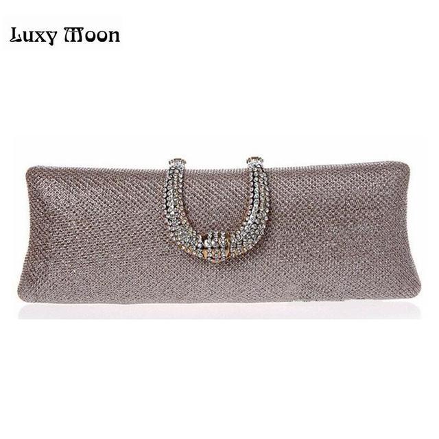 U Diamond Gold Clutch Bag Crystal Clasp Silver Evening Bags Women Wedding Bride Purse Glitter Party