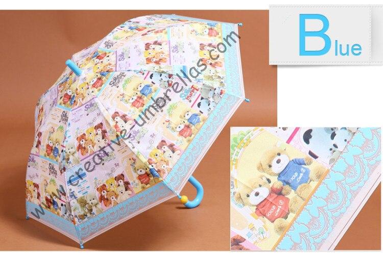 Dessin animé bébé enfant EVA parapluie-petit ours, auto ouvert. anti-rouille, anti-foudre, côtes en fibre de verre, coupe-vent, universel pour fille et garçon