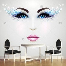 Custom modern Wallcoverings,face with glamour makeup,3D photo for guest barber shop store background wall waterproof wallpaper(China)
