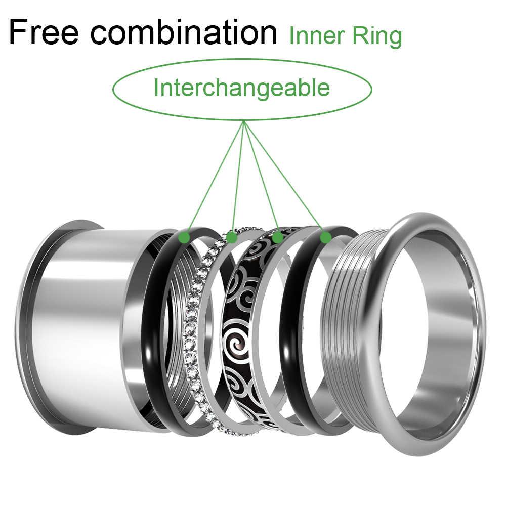 Floya anéis de malha para acessórios femininos anel de aço inoxidável interno cheio combinação intercambiáveis ringen bague acier
