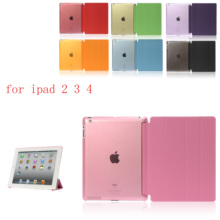 PC Leather Siamese Case for Apple iPad 2 3 4  Fashion Smart Cover + translucent back A1460`A1459`A1458`A1416`A1430