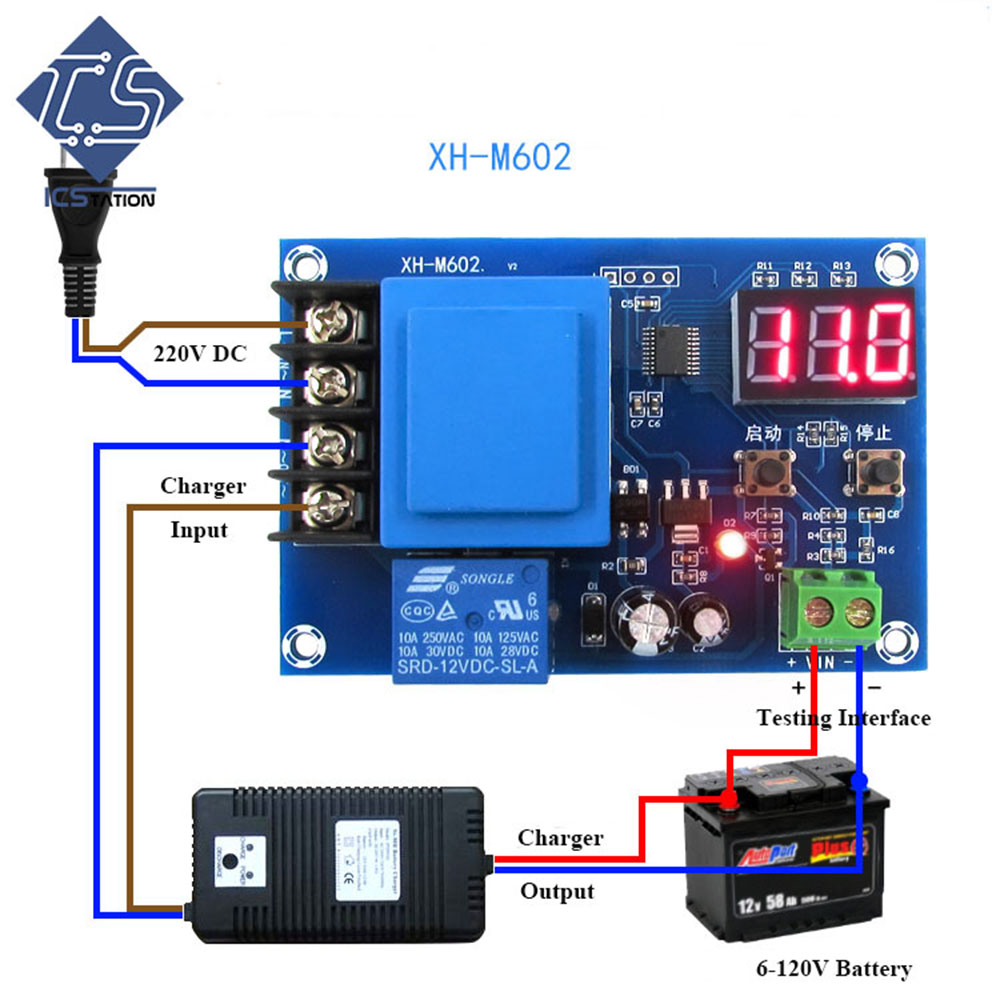 Charging Board XH-M602 Digital Control Charging Control Module AC 220V Protection Board For Lithium/Lead-acid Battery xh m603 li ion lithium battery charging control module battery charging control protection switch automatic on off 12 24v