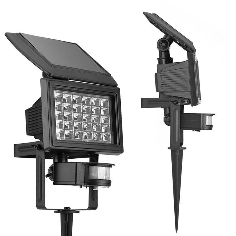 Solar Powered 30 LEDs Garden Spotlight Landscape Light Track Lighting  Waterproof Outdoor Lawn Wall Light In Ground Light Bulb