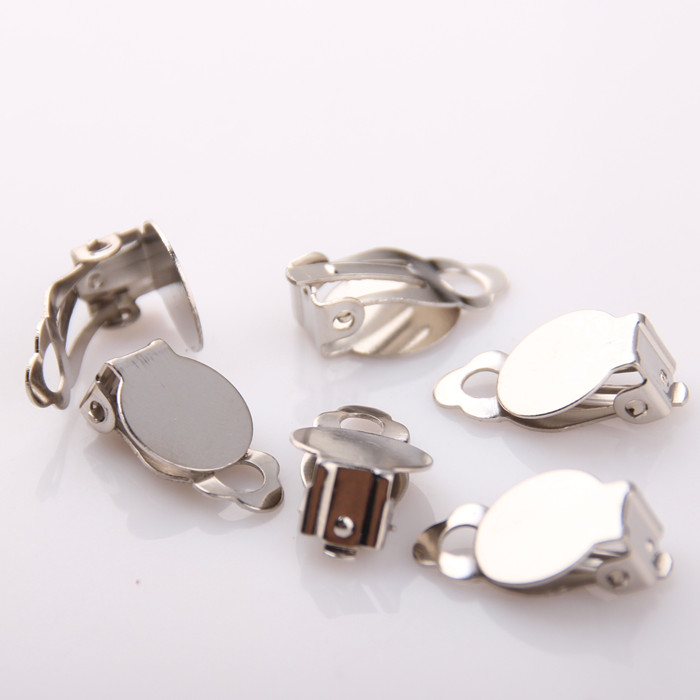 Jewelry Making Clip On Earrings Findings No Need Ear Pierced Non Piercing Pad Base Fit Cabochon Cameo Bazel Flat Back In