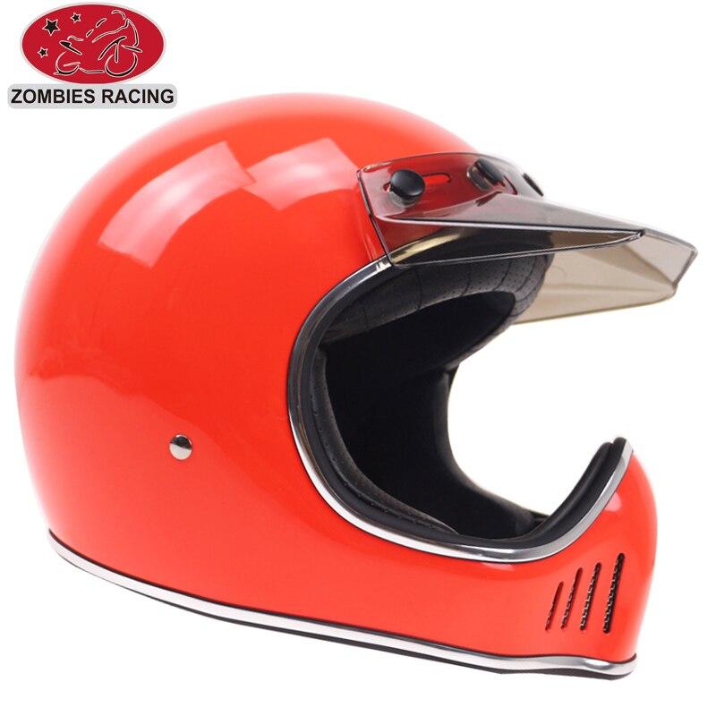 Casque avec Visière Amovible DOT CEE approuvé Vintage moto casque casque concept pour rétro moteur