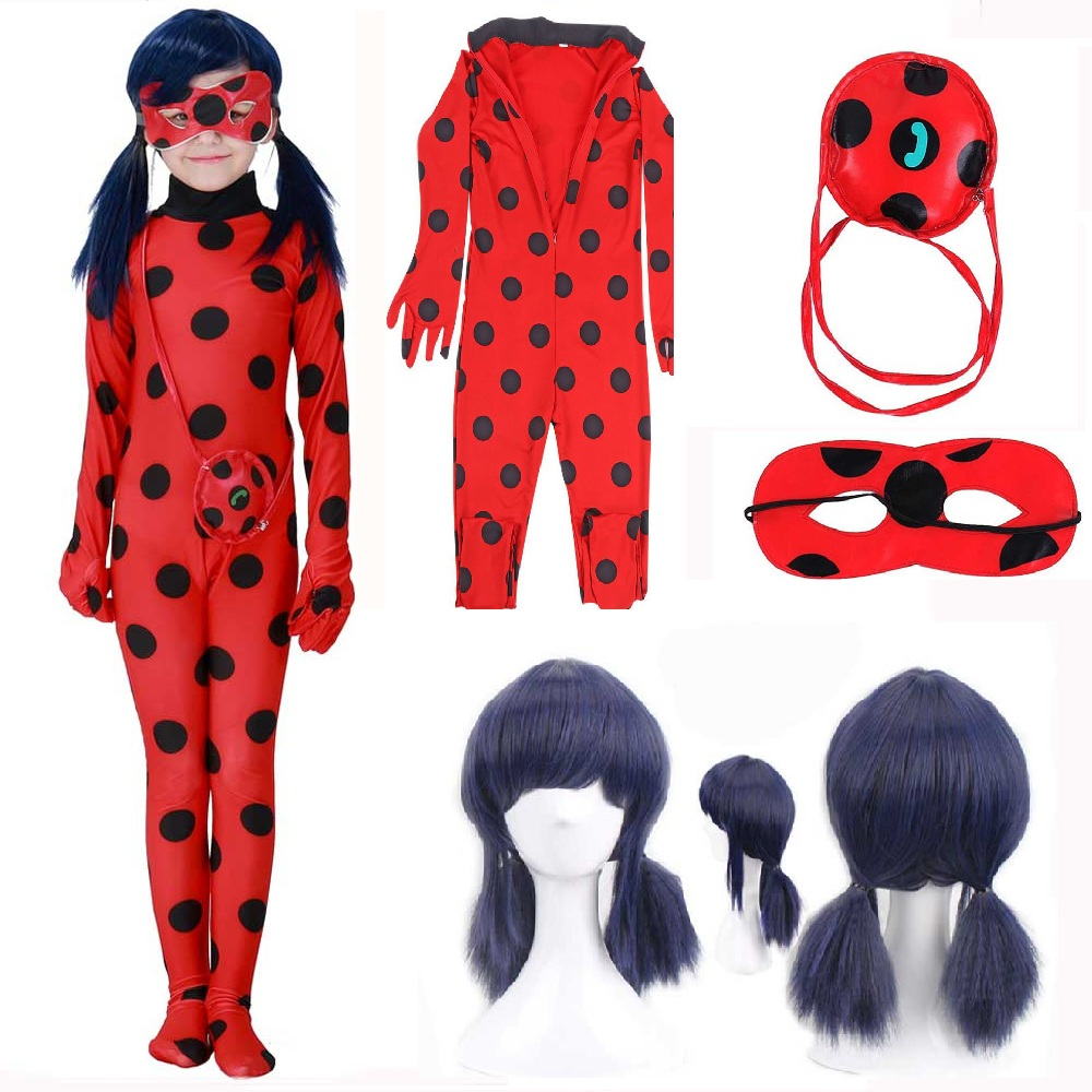 kids and Adult Ladybug Costumes cosplay Christmas party bag girls children lady bug Zentai Suit halloween costume