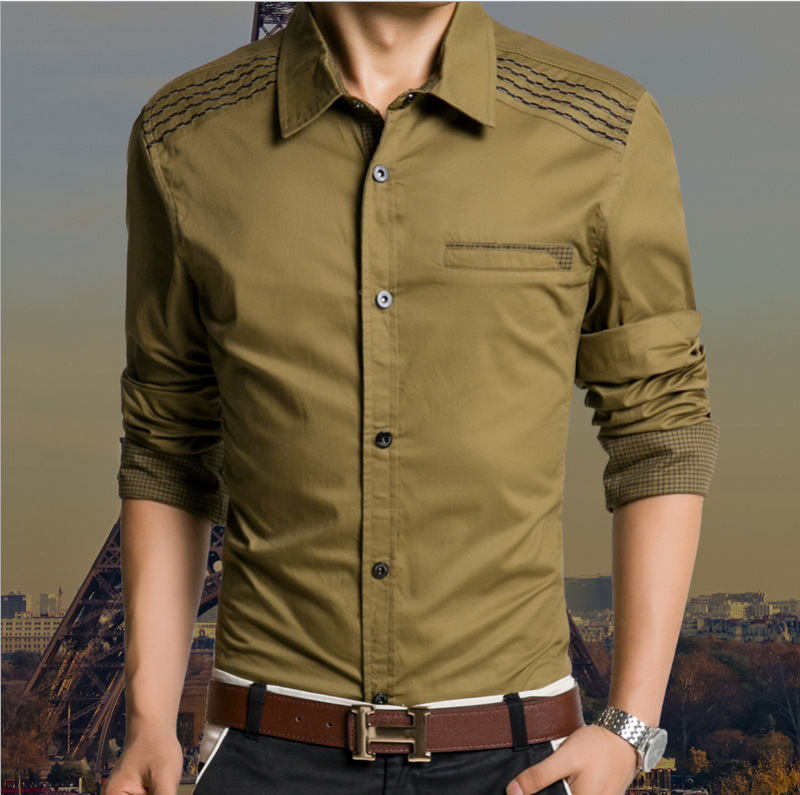 2015 New casual Fashion Quality Long Sleeve Shirt Men Korean Slim Design Formal Casual Male Shirts 6 colors M-XXXL Freeshipping - LONMMY Store store