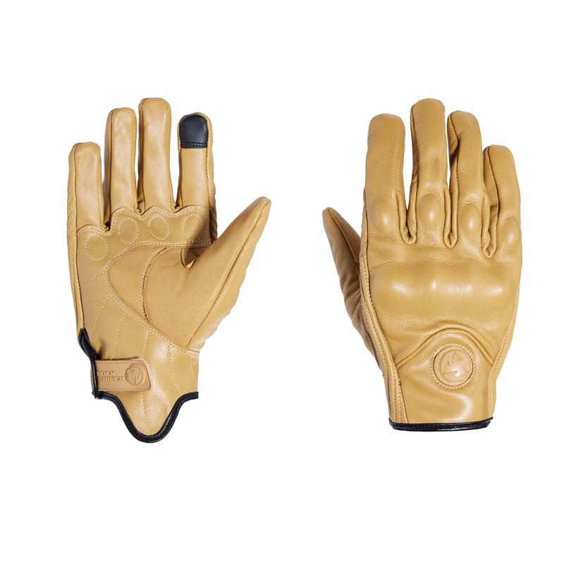 ROCK BIKER Vintage Leder Motorrad Handschuhe Touch Screen Unisex Schwarz Gelb S ~ XXL Halten Warme Motorrad Handschuhe Luva Motociclista
