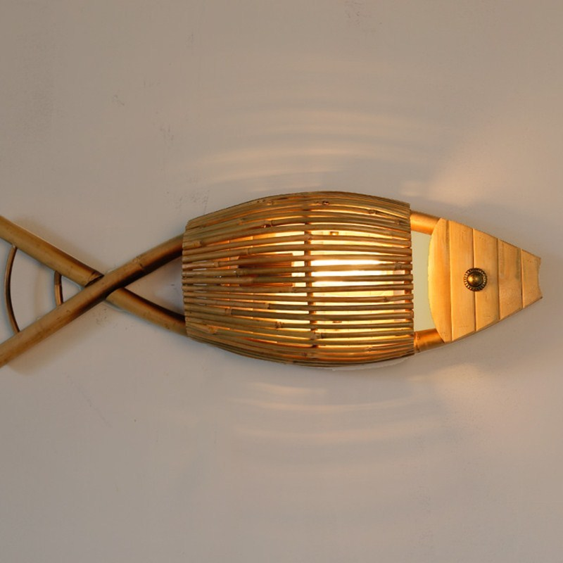 fish bamboo wall ligh Bar Cafe wood wall lamps Restaurant fish shaped Asia wall lamps Museum exhibition hall decoration ZA914611