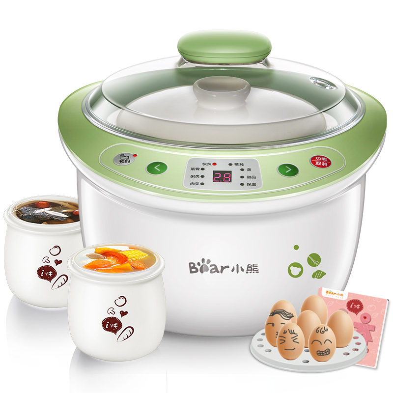 Electric Stew Pot White Porcelain Slow Cooker Ceramic Soup Porridge Rice Pot Automatic Power Off When Lack Water Cute Design bear ddg d10g1 electric slow cooker white porcelain 100w mini fully automatic baby soup pot bird s nest stew pot light yellow