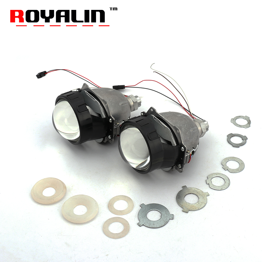 ROYALIN Bi LED Projector Lens Strong Power 3.0 inch Hi/Lo Beam Headlight Car Styling for H1 H4 H7 9005 9006 Universal Auto Lamps yy 3 0 inch bi led projector lens headlight 35w 6000k hi lo beam auto lighting headlamp car styling car led headlight auto parts